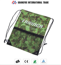 Guangyue Promotional Product Reusable Camouflage Polyester Shopping Drawstring Bag