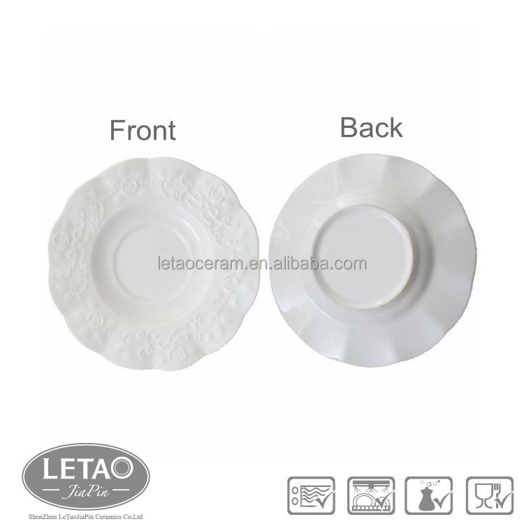 Promotion Stock Rose Embossed Plain White Ceramic Dishes