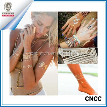 2015 hot selling temporary metallic flash tattoo