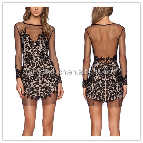 China clothing supplier, sexy black lace mini dress for girl/women (PY0014)