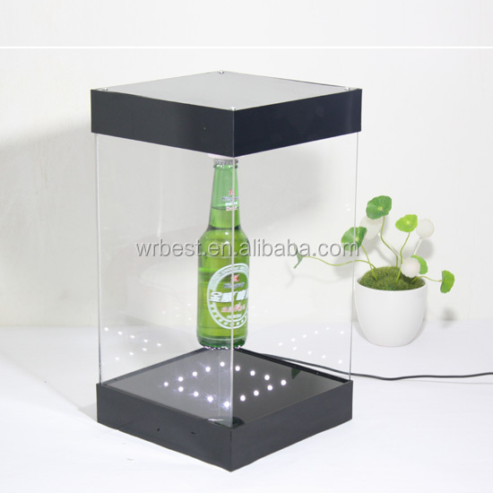 acrylic floating bottle and can display and acrylic led levitation display