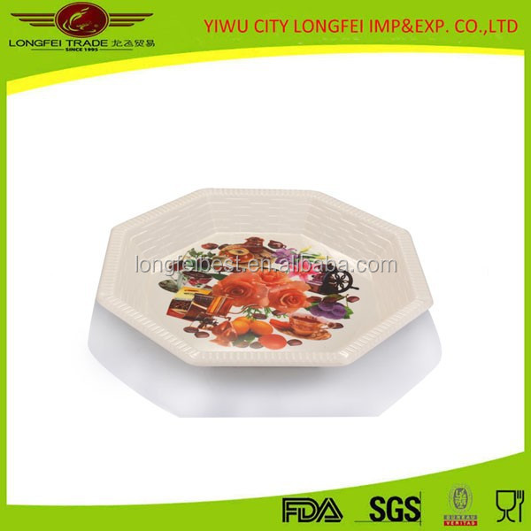 2015 New Product Beautiful Octangle Plastic Plate Fruit