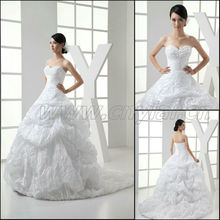 JJ3012 Newest Ball Gown Fold Silk Satin Sleeveless Bridal Wedding Dress
