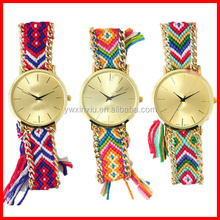 Wholesale Made In China Cotton Rope Braided Bracelet Watch High Quality Ladies Quartz Watch
