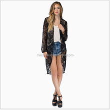 S31218A Online shopping women's clothing black transprant lace cardigan