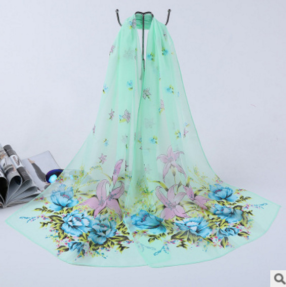 Large Size Flower Printing Chiffon Scarf
