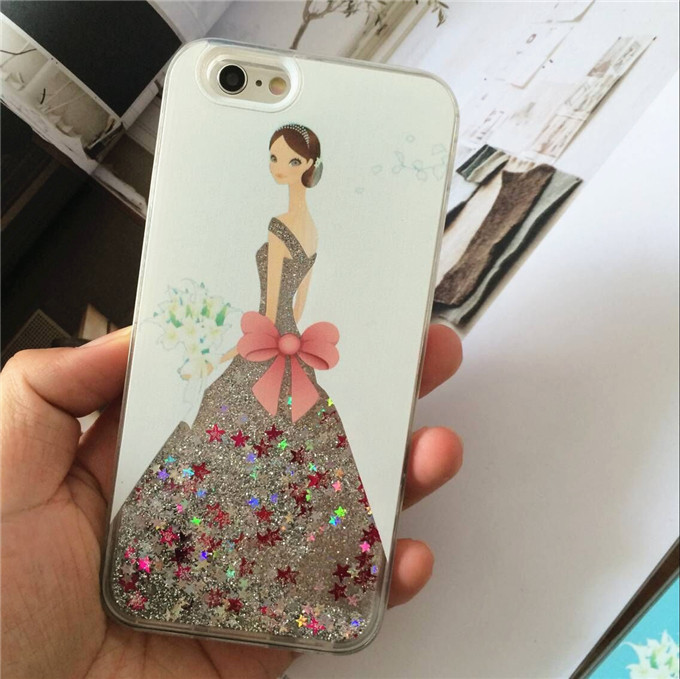 new products 2016 sexy skirt girl covers for iphone 6 case dynamic quicksand cell phone case for apple 6s 6plus 6splus