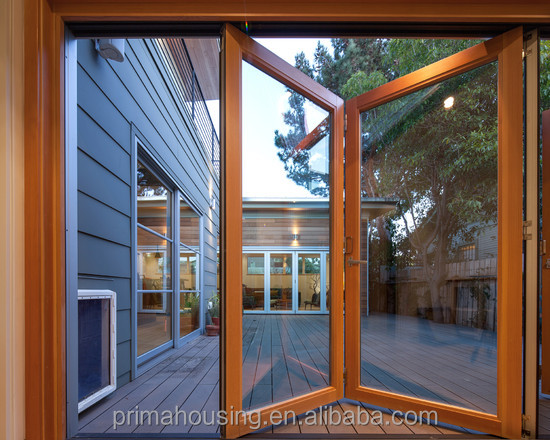 aluminum profile folding door with clear insulated glass