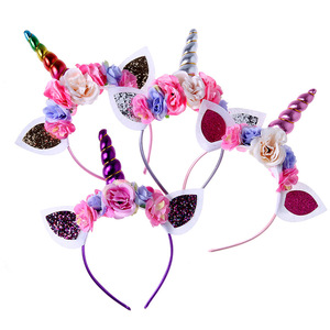 Metallic Glitter Unicorn Headband With Blue Pink Chiffon Flower Floral Crown Unicorn Horn Hairband For Girl