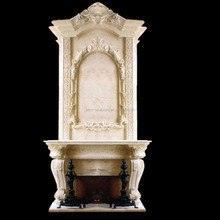 Luxury Large Free Standing Stone Fireplace Mantle for Home Decoration