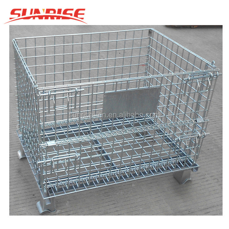 Foldable galvanized Wire Mesh Container rolling metal storage cage