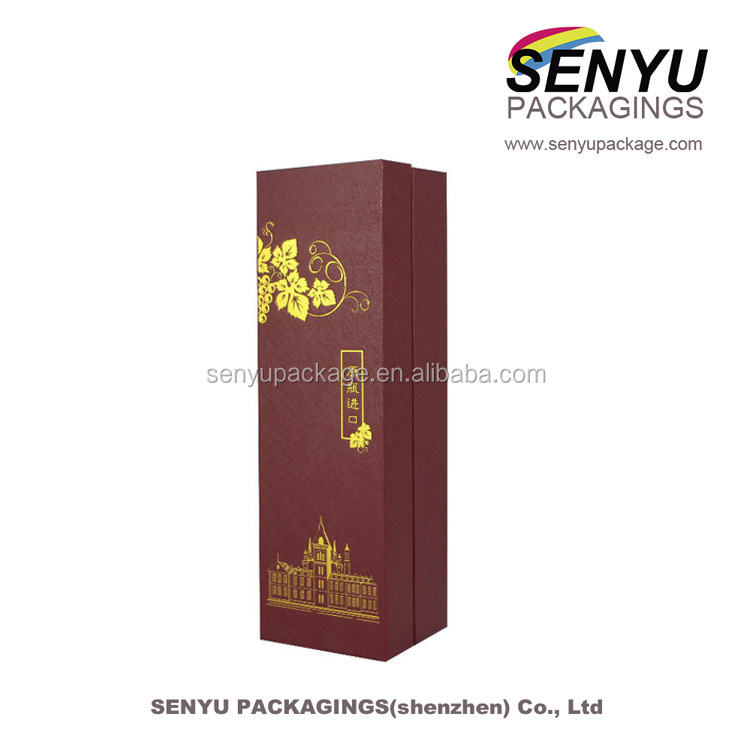 Custom brown long shape wine gift box with high quality silk satin protection for one wine battle