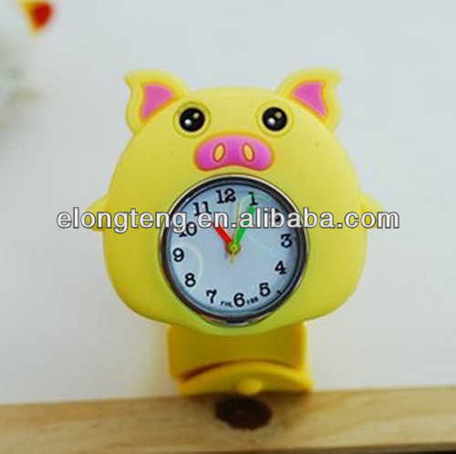 2014 latest most promotional pig silicon slap watch for children kids