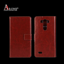 Oil wax real leather flip cover case for LG cell phone