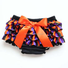 2017 New Arrival Halloween Orange Bows Diaper Covers Ruffle Purple Orange Black Satin Stripe Baby Girls Bloomers