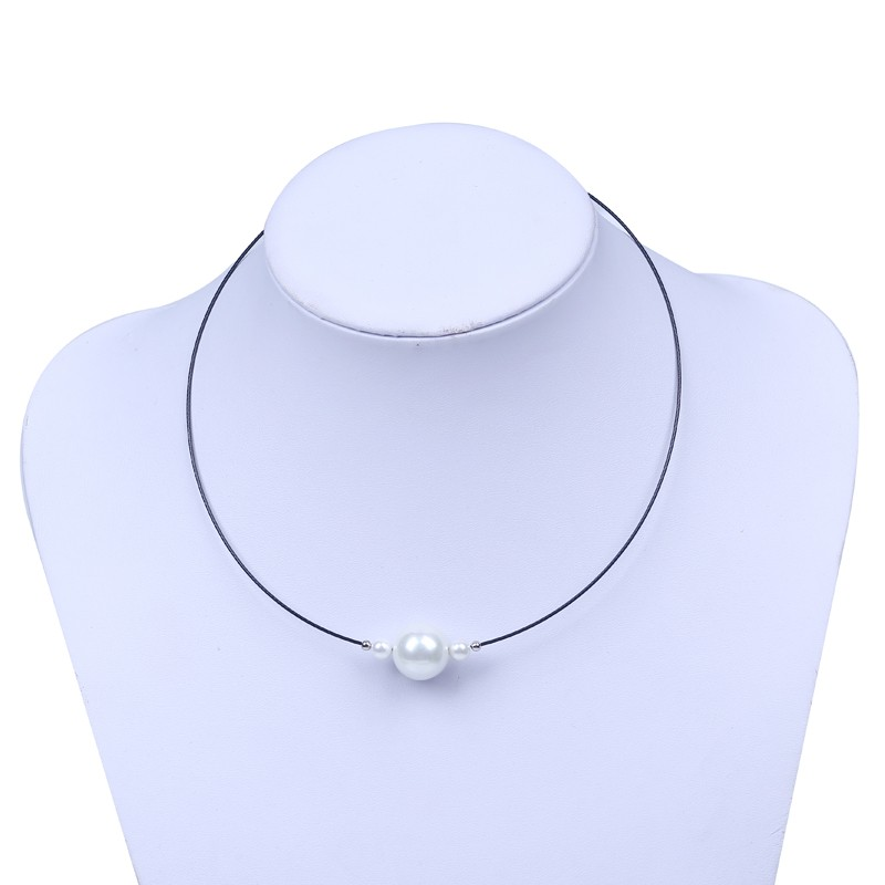 Hippie Colar Perola Cheap Single White Mother of Pearl Necklace