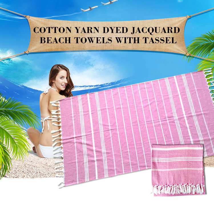 Factory supplier cheap custom turkish beach towel with tassels