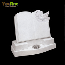 White Marble Carving Bird Bible Headstone