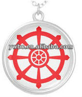 Silver color disc shape nautical enamel wheelship pendant jewelry