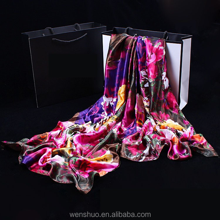 Fashion Digital Printed Stain Silk Shawl ladies evening shawls