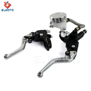 "ZJMOTO Silver Aluminum 7/8"" Motorcycle Brake Master Cylinder Clutch Lever With Fluid Reservoir For Custom Motorcycles"