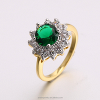 2017 new jewelry dubai 24K gold plated adjustment sterling silver emerald CZ ring