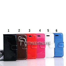 glossy pu leather flip case for iphone5 folio leather case, glossy pu leather flip case for iphone 5