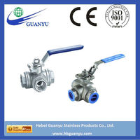 3 way stainless steel 2 inch ball valve with ISO5211 mounting pad, China manufacturer direct sell