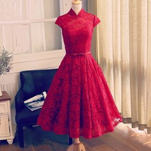 Elegant Beautiful Red Lace Sashes Classy Long Red Prom Dresses