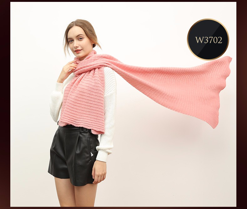 Pure color wool knitting scarf for women