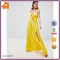 custom made yellow sexy knot front pleated long maxi dress