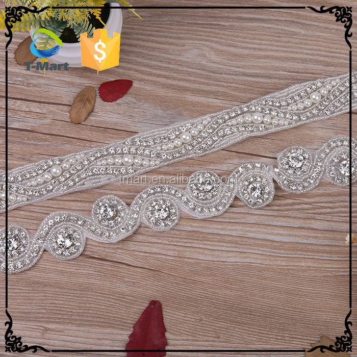 Bridal Rhinestone Wedding Embroidery Beaded Crystal Applique for Wholesale