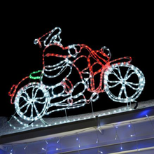 Rope Light Animated Santa Riding Motorbike