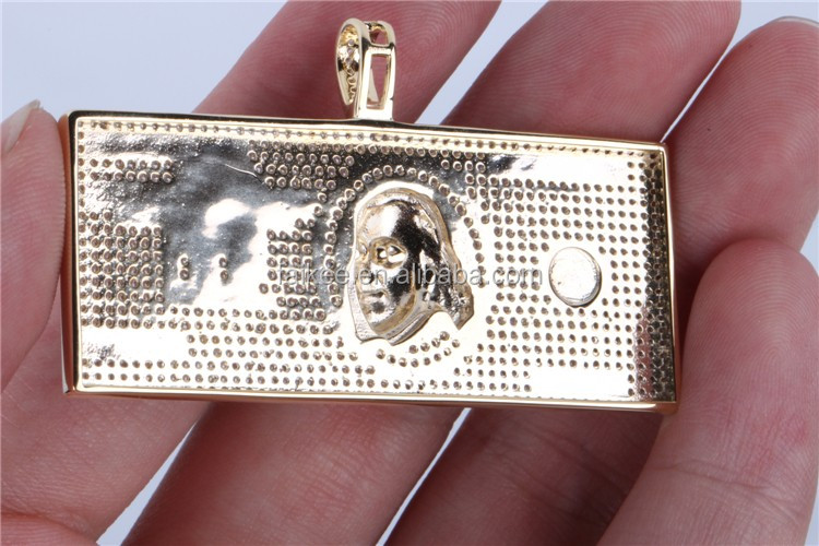 Custom hip hop100 US dollar pendant necklace jewelry gold plating