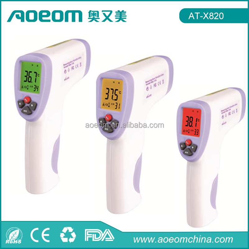 Three color Backlight alarm function body non contact infrared thermometer