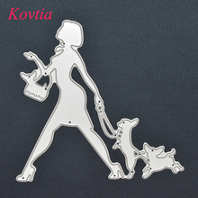 Lady Walk Dog Shape Metal Art Craft Etch Stencils Embossed Cutting Dies