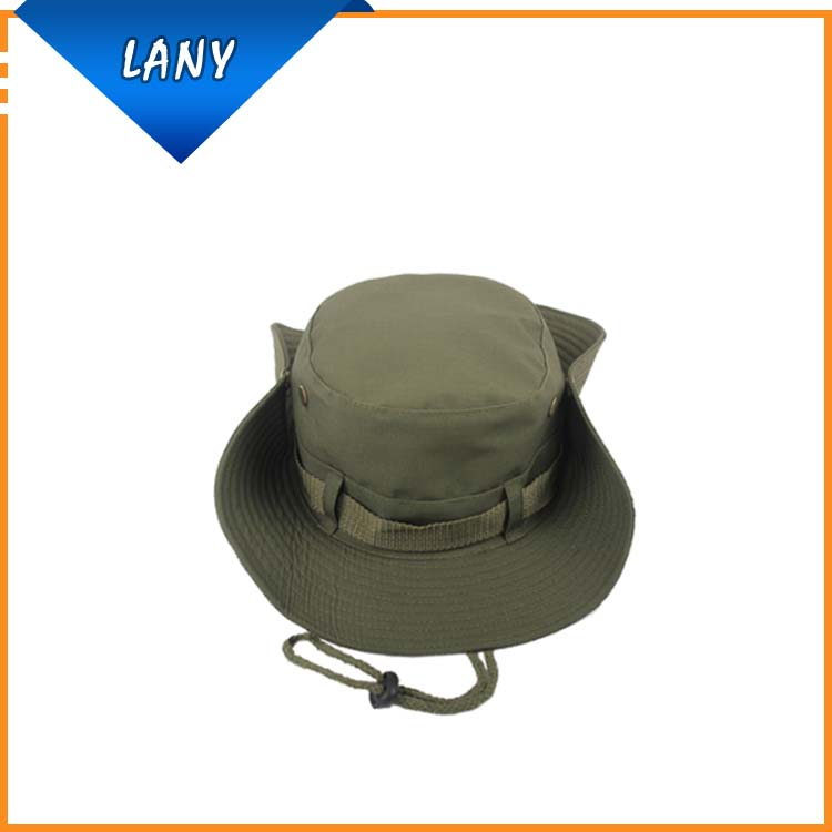 Adjustable army green bucket hat with string