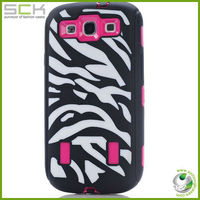 black zebra high impact combo hard rubber case layer for samsung galaxy s3 hot pink film