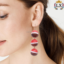 EYQ-00599 fashion hot sell wholesale resin and wooden colorful three ball dangle earrings