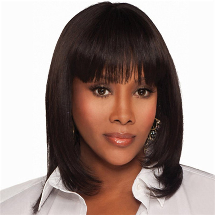 Full Bang human hair Bob Style Capless Medium Wig