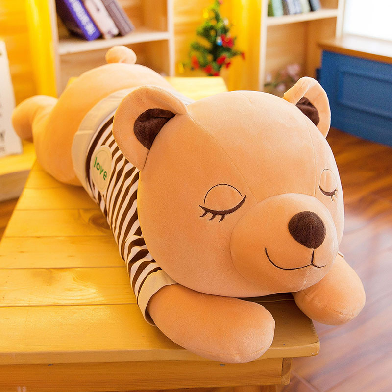 high quality Super soft pillow plush toys elastic cotton brown lazy bear stuffed <strong>animals</strong>