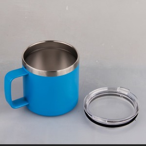 450ml double wall stainless steel camping mug with handle