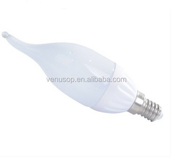 E27/E14 cool white Ceramic LED Tailed candle bulb C37 LED candle replacement light for Chandelier