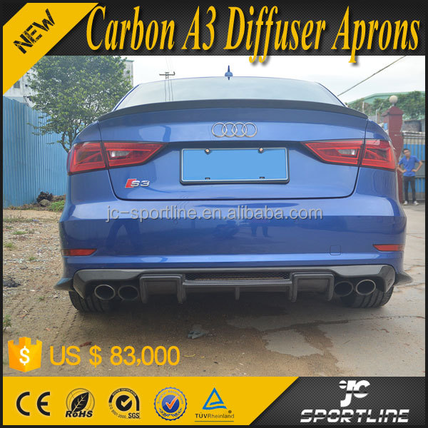 JC Design Carbon A3 Rear Bumper Diffuser Aprons for Audi A3 S3 2015 2016