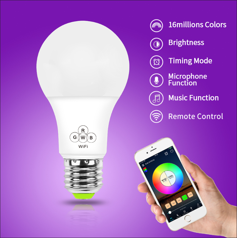RGBW wifi smart led lighting Wireless e27 decorative google home alexa Echo wifi led bulb smart led bulb wifi led bulb