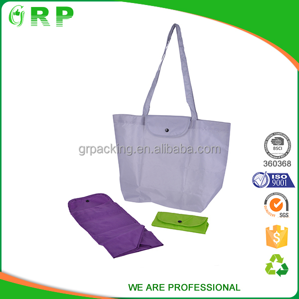 ISO BSCI supermarket vegetable foldable 210d polyester fabric promotion bags