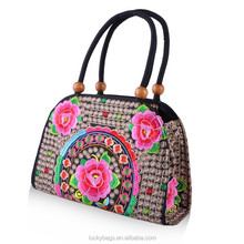 2014 Hot sell woman fashion handbag with wooden beads bag embroidery handbag