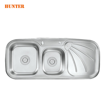 Inox singapore quality  double bowl kitchen sink for granite stone counter with stainless strainer waste