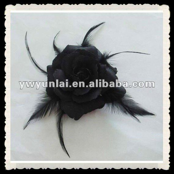 High Quality Black Brown Feather Flower Hair Flower Accessories
