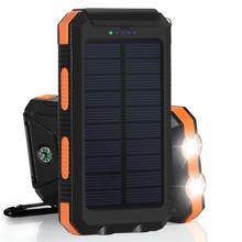 PowerGreen ROHS Waterproof Mobile Phone 10000mAh Solar Power Battery Charger With Lamp